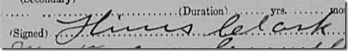 Signature of Dr. Hines Clark, Cora Washburn death certificate, signed 18 March 1913