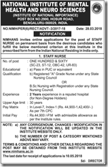 NIMHANS Staff Nurse Notification 2018 www.indgovtjobs.in