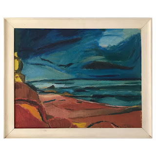 Signed Mid-Century Modern Seascape Oil Painting