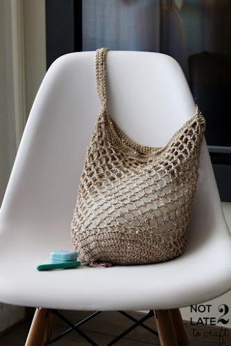 Not 2 late to craft: Bossa de xarxa en ganxet patró gratuït / Crochet net bag free pattern / Bolsa de red en ganchillo patrón gratis