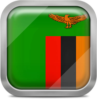 Zambia square flag with metallic frame