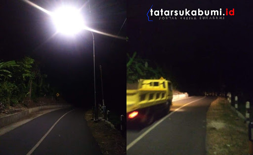 Sejumlah Lampu PJU Loji - Geopark Ciletuh Palabuhanratu Mati // Foto : Rudi Imelda