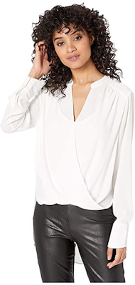 lady wearing an elegant white satin blouse