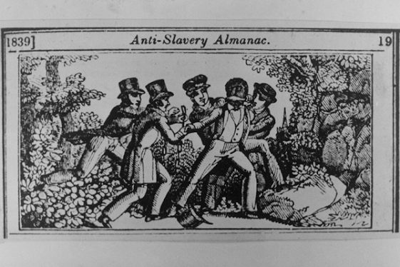A woodcut from the abolitionist Anti-Slavery Almanac (1839) depicts the capture of a fugitive slave by a slave patrol.