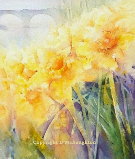 Spring daffodils. Watercolour. Artist Dianne McNaughton