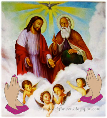 Illustration of prayer hands to the Blessed Trinity