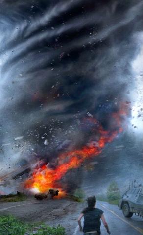 badai topan menyerang setiap yang dilewati mobil hancur
