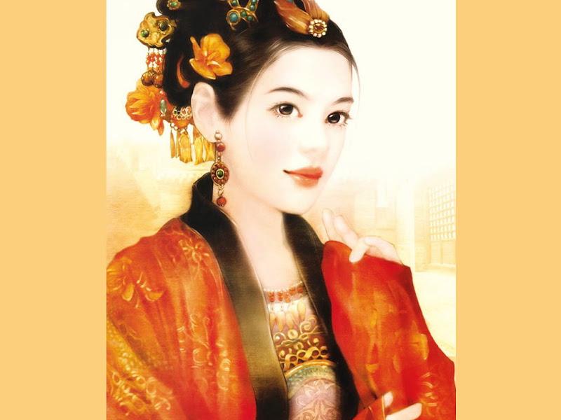 Samurai Girl In Red Clothes, Magic Samurai Beauties