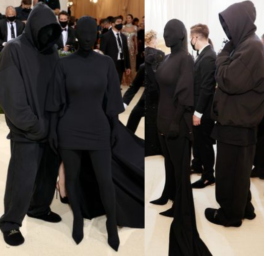 Kim Kardashian poses with 'fake Kanye West' in Met Gala outfits that hide their faces