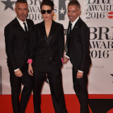 OIC - ENTSIMAGES.COM - Dean and Dan Caten with Noomi Rapace at the  The BRIT Awards 2016 (BRITs) in London 24th February 2016.  Raymond Weil's  Official Watch and  Timing Partner for the BRIT Awards. Photo Mobis Photos/OIC 0203 174 1069