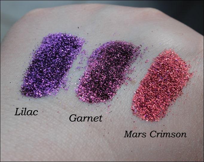 StarGazer Glitter Shaker Swatches Lilac Garnet Mars Crimson