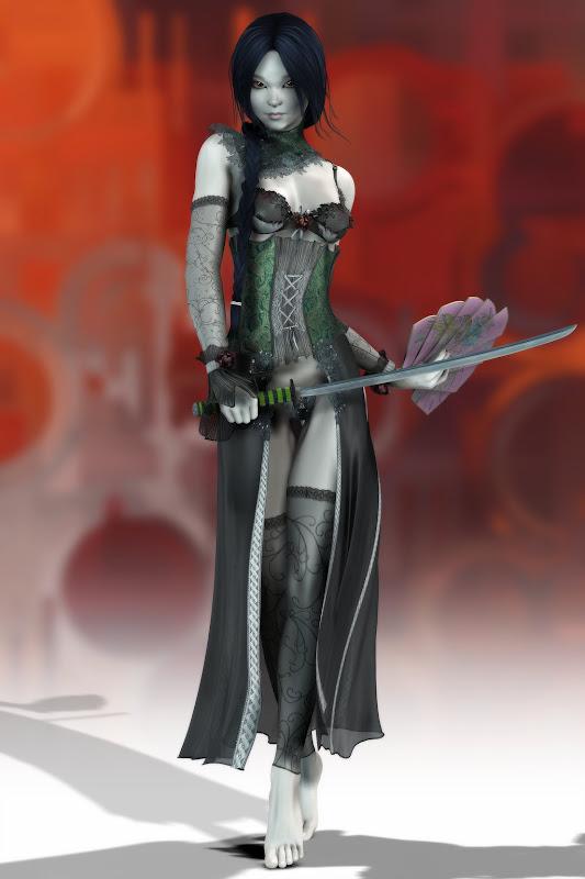 Dark Elven Girl With Sword, Warrior Girls 1