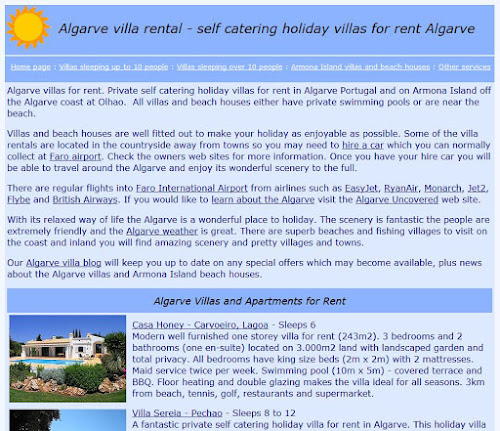 New site look for www.algarvevilla.net