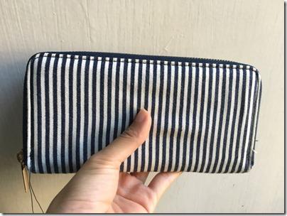 Cotton On Zip Around Wallet Navy Blue Stripe