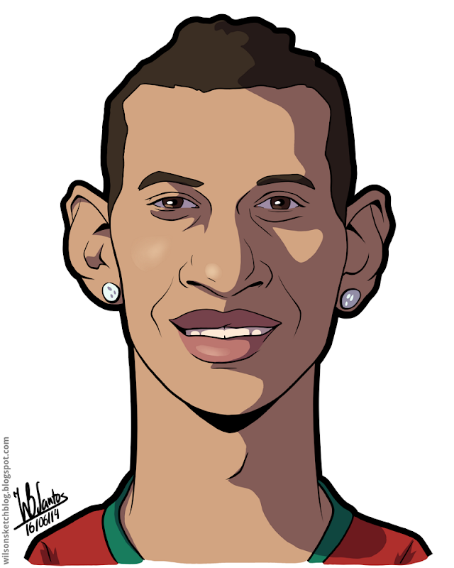 Cartoon caricature of Nani.