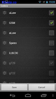 Zoiper Android codecs