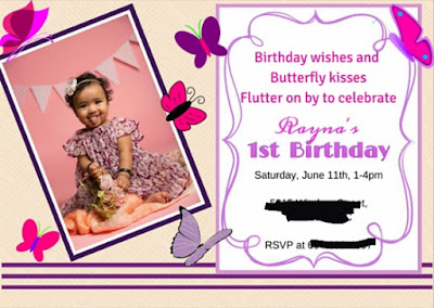 Turning Mommy: First Birthday invite pink purple butterfly