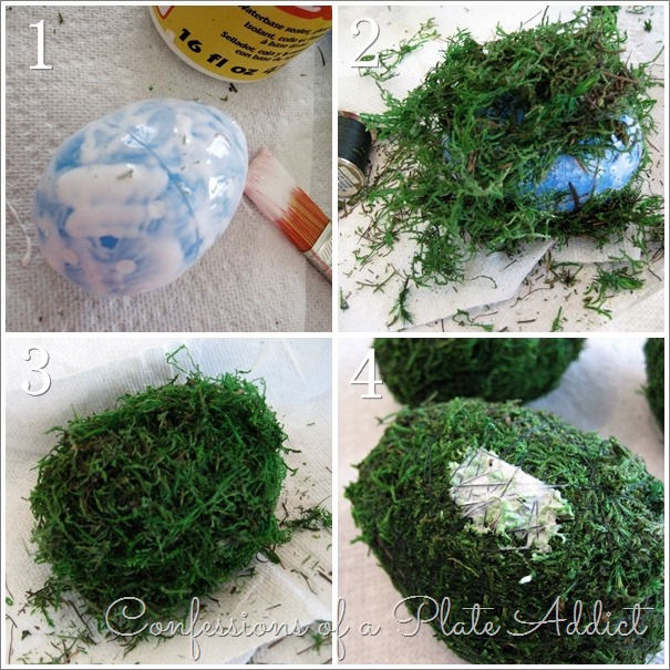 CONFESSIONS OF A PLATE ADDICT Moss-Covered Easter Eggs tutorial