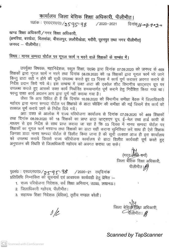 पीलीभीत में शिक्षकों पर बड़ी कार्यवाही, BSA ने 400 से अधिक शिक्षकों का वेतन रोकने का दिया आदेश