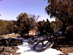 Mountain bike and snow on Smo Joe's