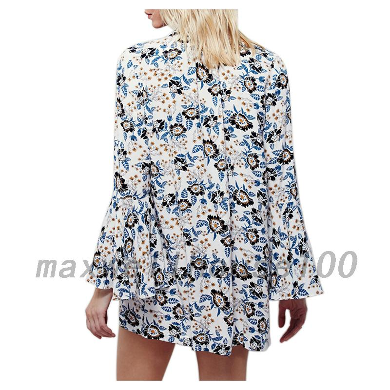 Vintage-Style-Floral-Bell-Sleeve-Women-039-s-Button-Down-Shirt-Garden-Blouse-Top-UK