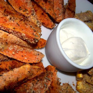 Crunchy Baked Sweet Potato and Squash Fries.
