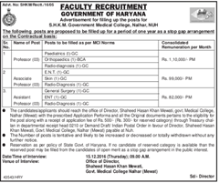 Govt of Haryana Faculty Recruitment 2017