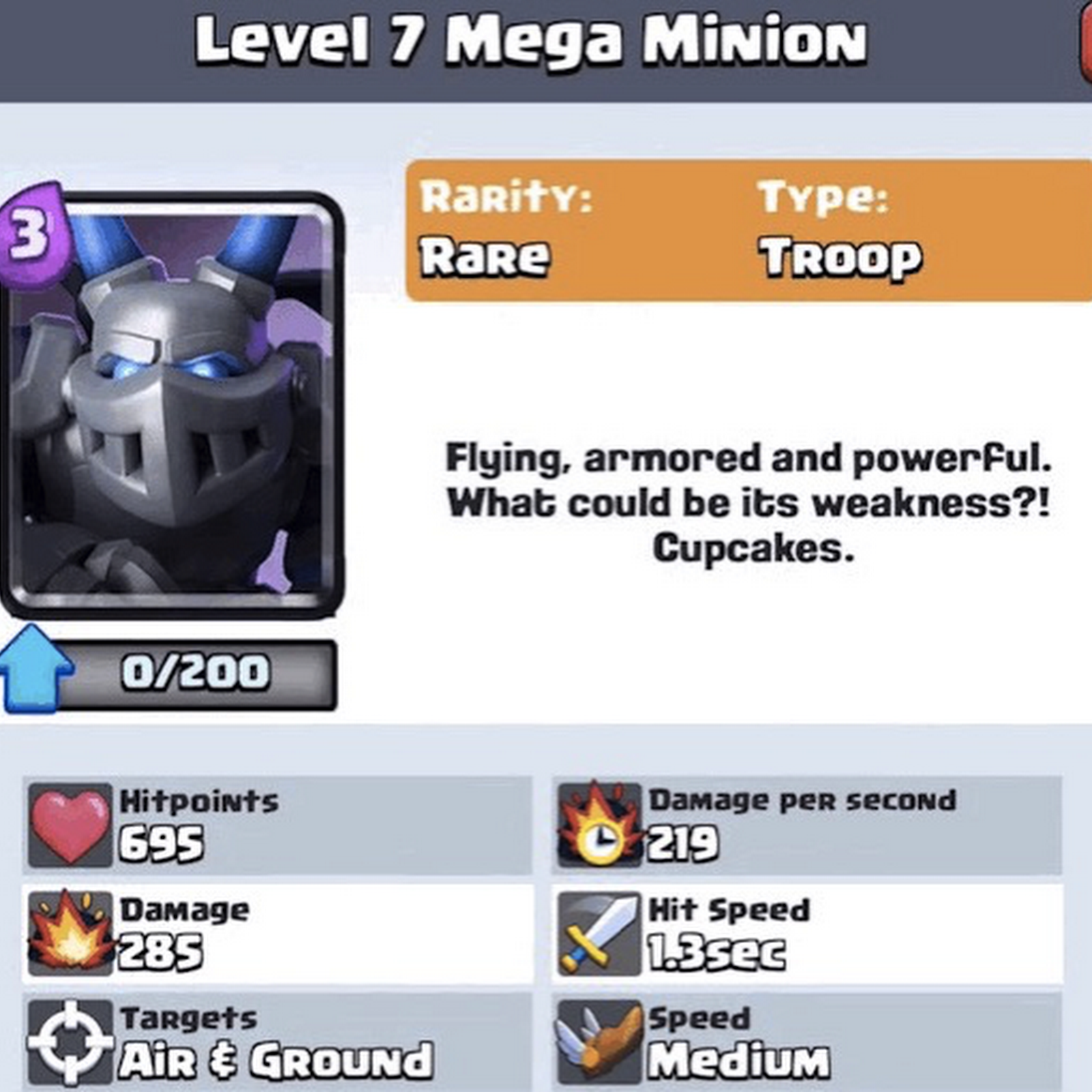 Mega Minion clash royale card 19 Sept 2016 Update.