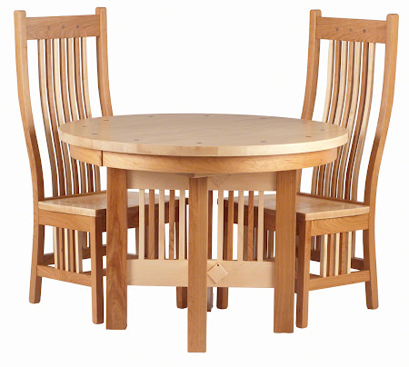 "42"" Inch Diameter Vail Round Table, Vail Dining Chair in Natural Cherry and Maple"
