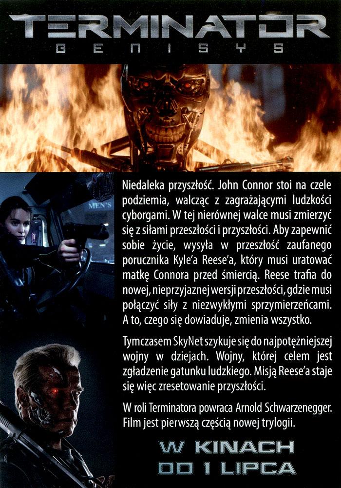 Ulotka filmu 'Terminator: Genisys (tył)'