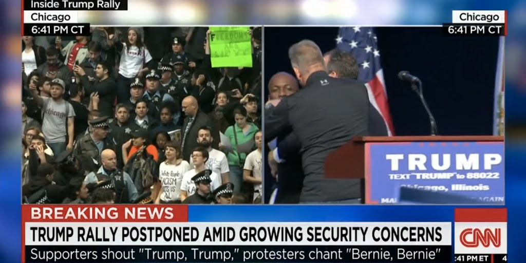 Leftist protesters break up Trump rally in Chicago