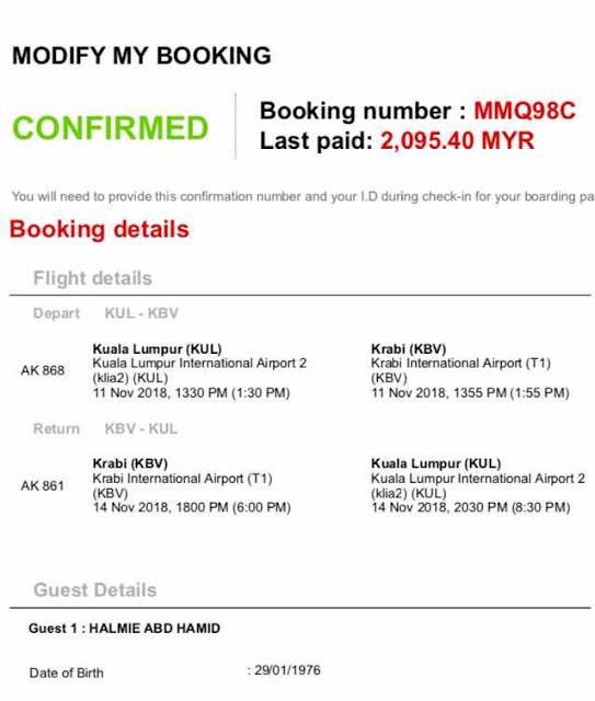 Harga Flight Ticket ke Krabi dari Kuala Lumpur_Air Asia_Premium Beautiful Thailand