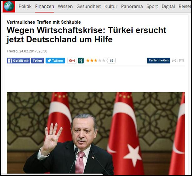Türkei erbittet Wirtschaftshilfe von Nazideutschland