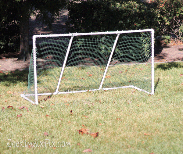 Homemade soccer goal and net