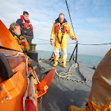 8 January 2012 Poole all-weather lifeboat crew preparing the anchor. Photo: Dave Riley