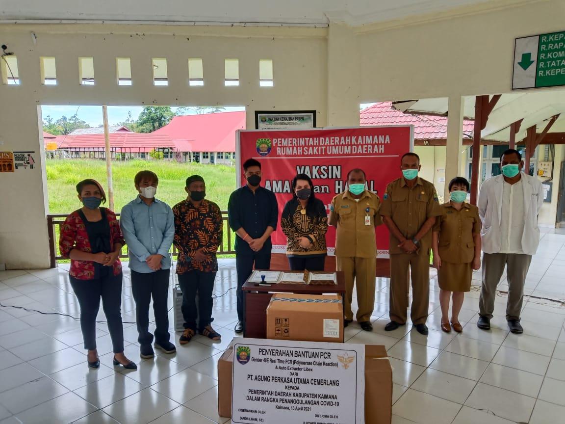 Direktur PT. Agung Perkasa Utama Cemerlang Andi Ilham Serahkan Bantuan Alkes PCR Real Time & Auto EXTRATOR Libex di Indonesia Timur