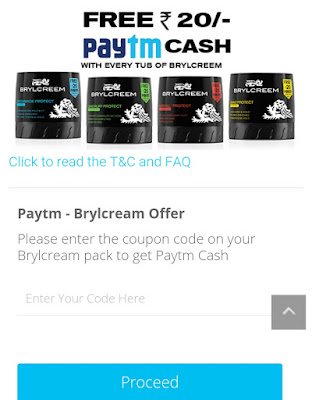 Free Paytm cash 20 with brylcream