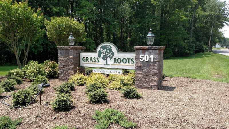 grass roots sandblasted sign