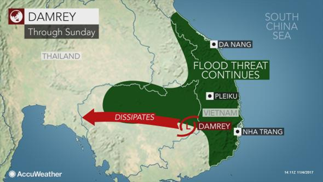 Flood threat in Southeast Asia from Typhoon Damrey, 4 November 2017. Graphic: AccuWeather