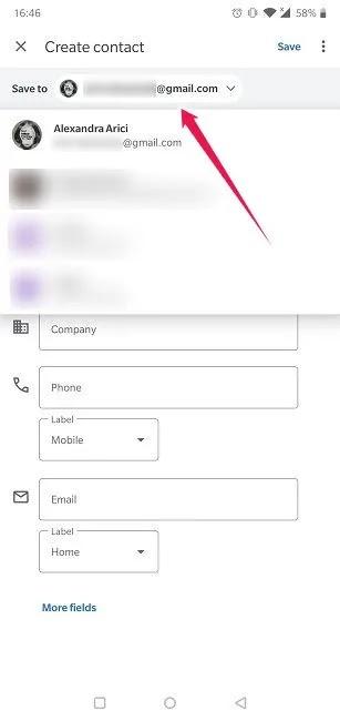 استيراد تصدير جهات الاتصال على Android جهة اتصال جديدة إضافة إلى حساب Google