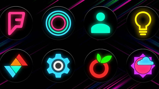 Neon Glow C - Icon Pack Imagem do Aplicativo