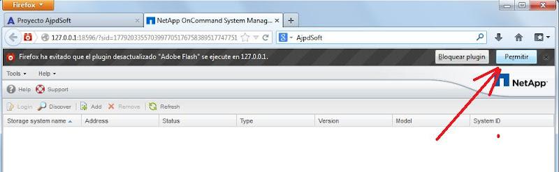 Acceso a administración de SAN NetApp mediante OnCommand System Manager