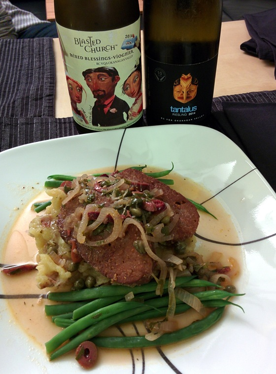 Blasted Church 2014 Mixed Blessings & Tantalus 2014 Riesling with Seitan Cutlets & Green Beans