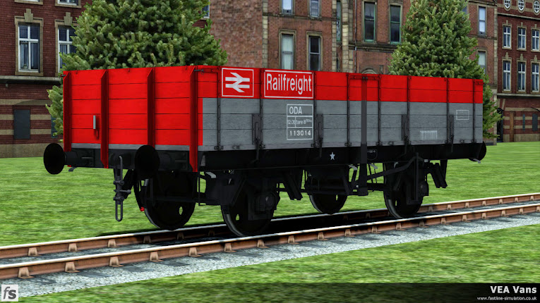Fastline Simulation - VEA Vans: Also included in the VEA vans expansion pack are a selection of ODA wagons. The picture shows a recently converted wagon posing outside the works in Railfreight flame red and grey livery.