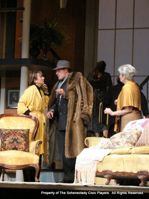 Benita Zahn, Randy McConnach, Stephanie G. Insogna, John Quinan and Joanne Westervelt in THE ROYAL FAMILY (R) - December 2011.  Property of The Schenectady Civic Players Theater Archive.