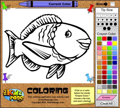 Раскраска ОНЛАЙН рыбка
