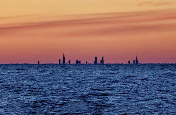 Chicago Skyline seen from Beverly Shores, IN