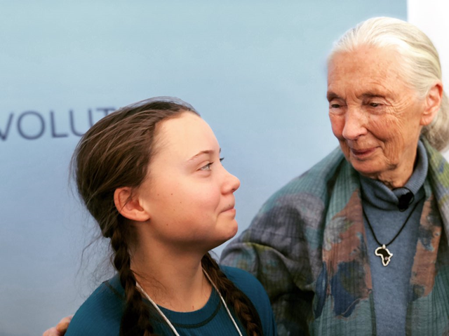 On 24 January 2019, sixteen year-old climate activist Greta Thunberg is seen with Jane Goodall at the World Economic Forum meetin in Davos. Photo: Callum Grieve / Twitter