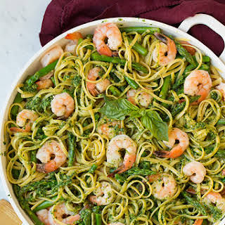 Pesto Pasta with Shrimp and Asparagus.