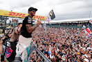 Lewis Hamilton making contact with F1 fans